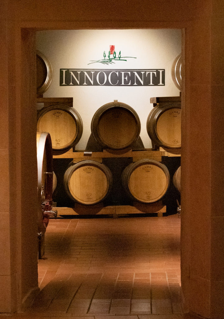 Cellar with Brunello wines